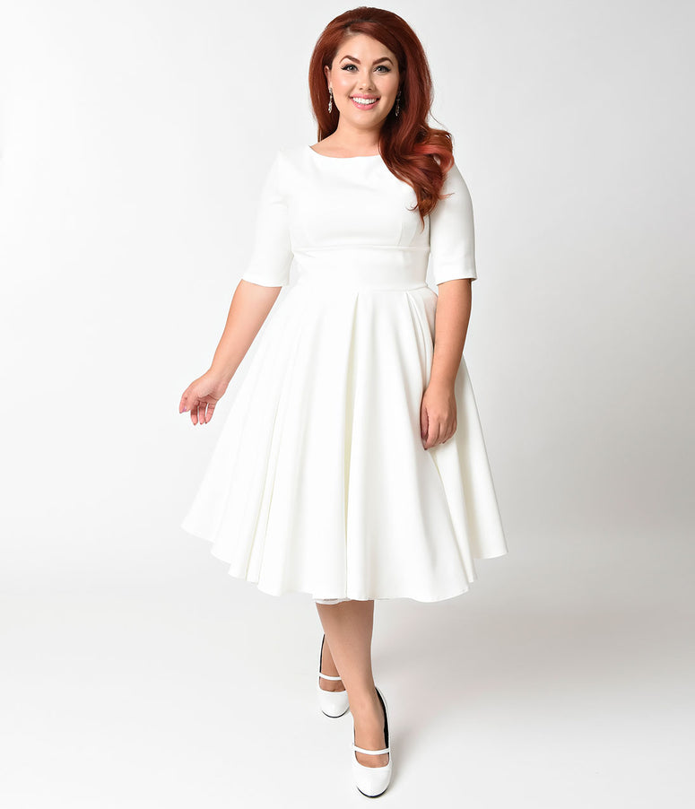36526ca1ed9 The Pretty Dress Company Plus Size Ivory Crepe Sleeved Hepburn Swing Dress