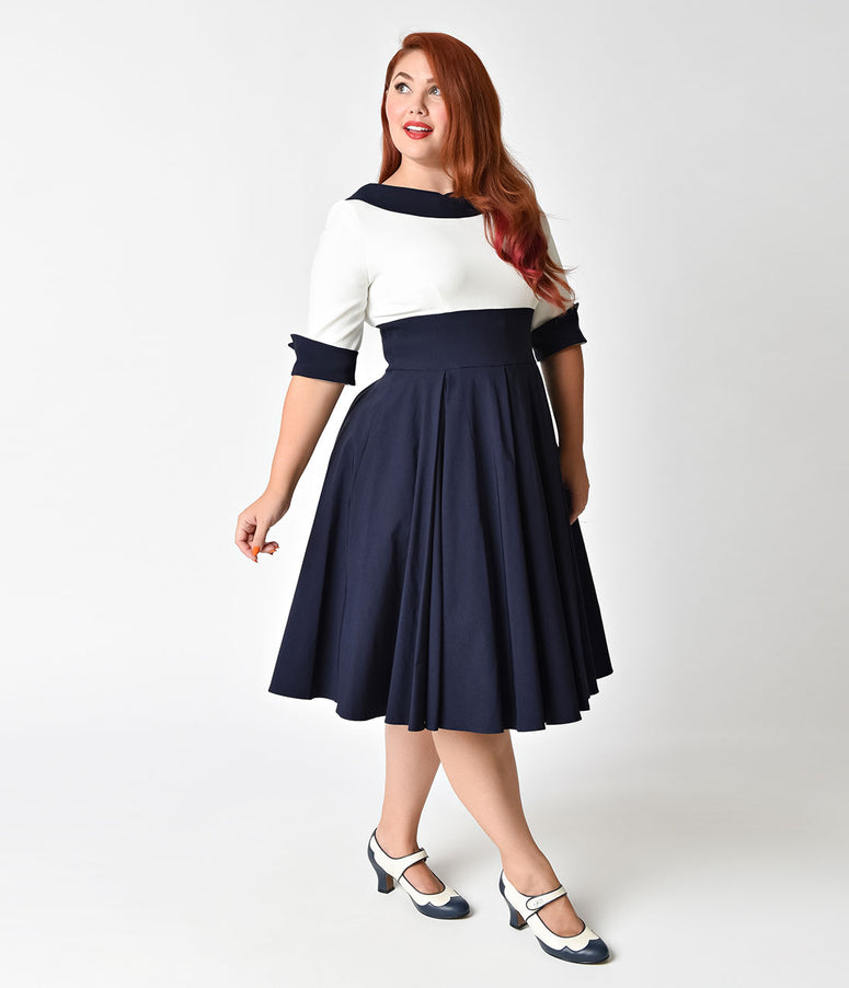 The Pretty Dress Company Plus Size Navy & Ivory Half Sleeve Madison Swing Dress