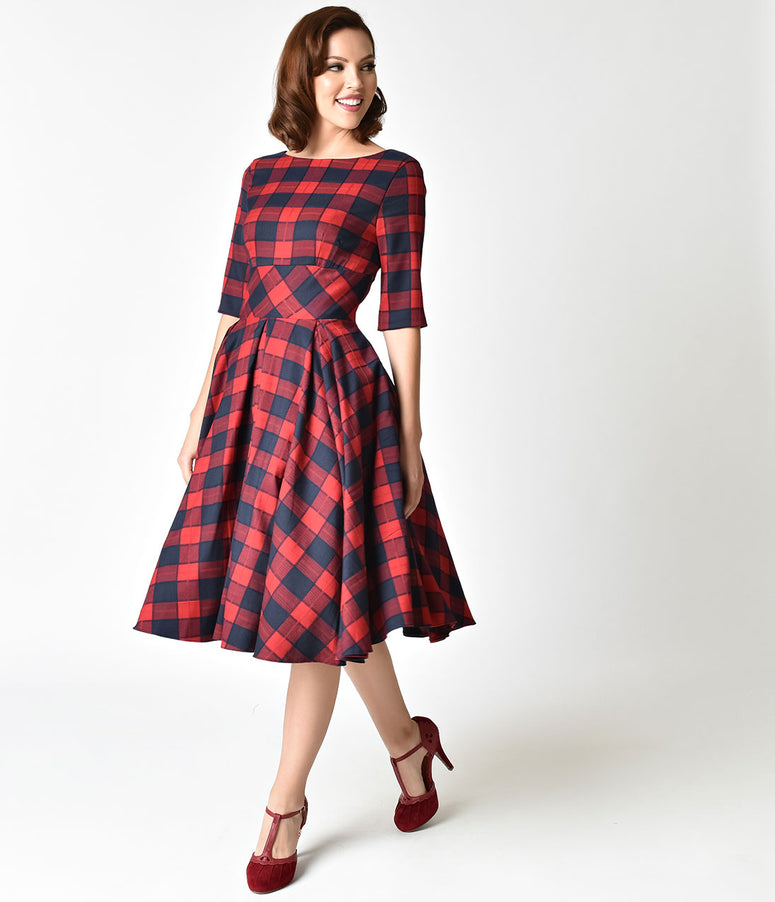 The Pretty Dress Company Red & Navy Blue Oversized Plaid Hepburn Swing Dress