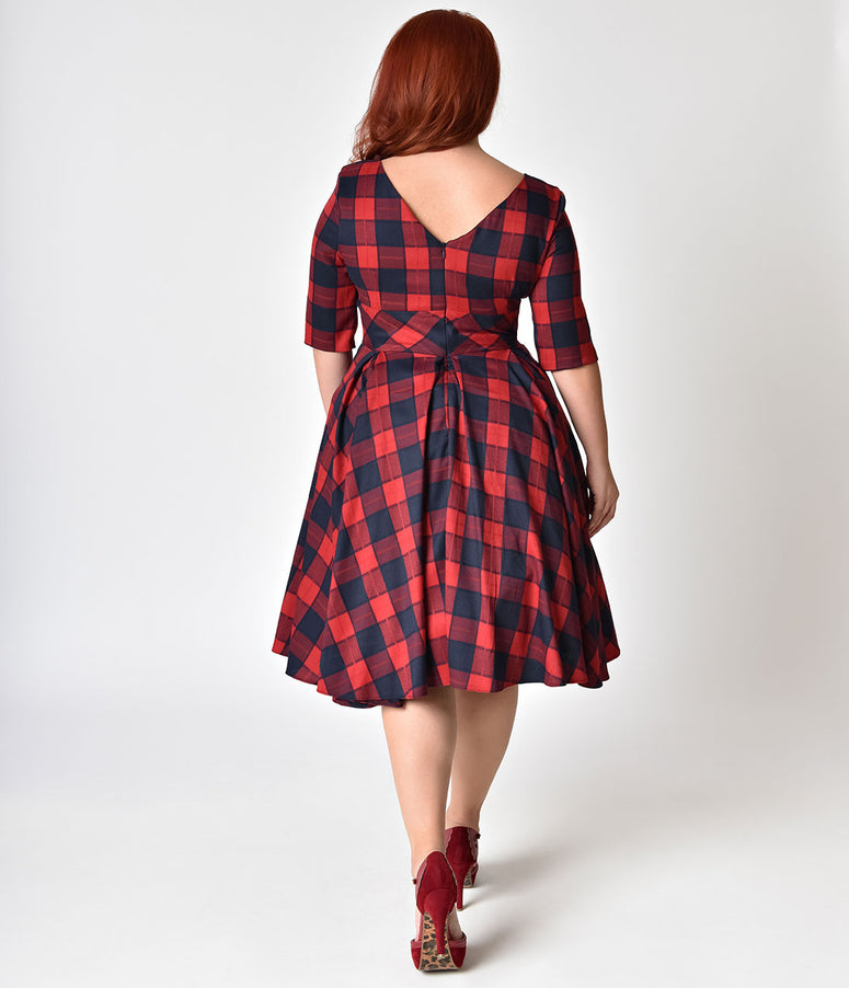 The Pretty Dress Company Plus Size Red & Navy Blue Oversized Plaid Hepburn Swing Dress