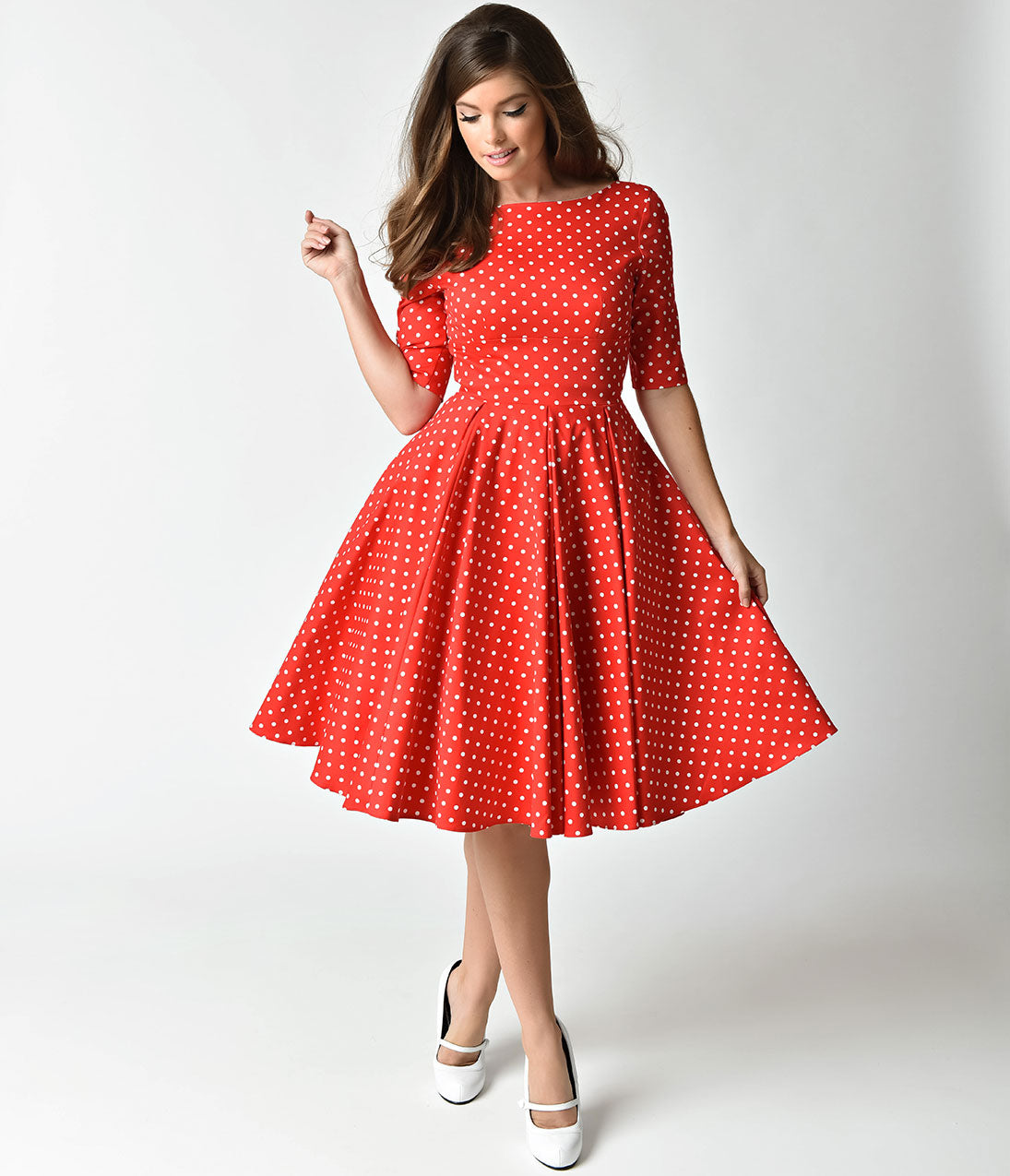 Vintage Polka Dot Dresses – 50s Spotty and Ditsy Prints The Pretty Dress Company Red  White Dot Sleeved Hepburn Swing Dress $142.00 AT vintagedancer.com