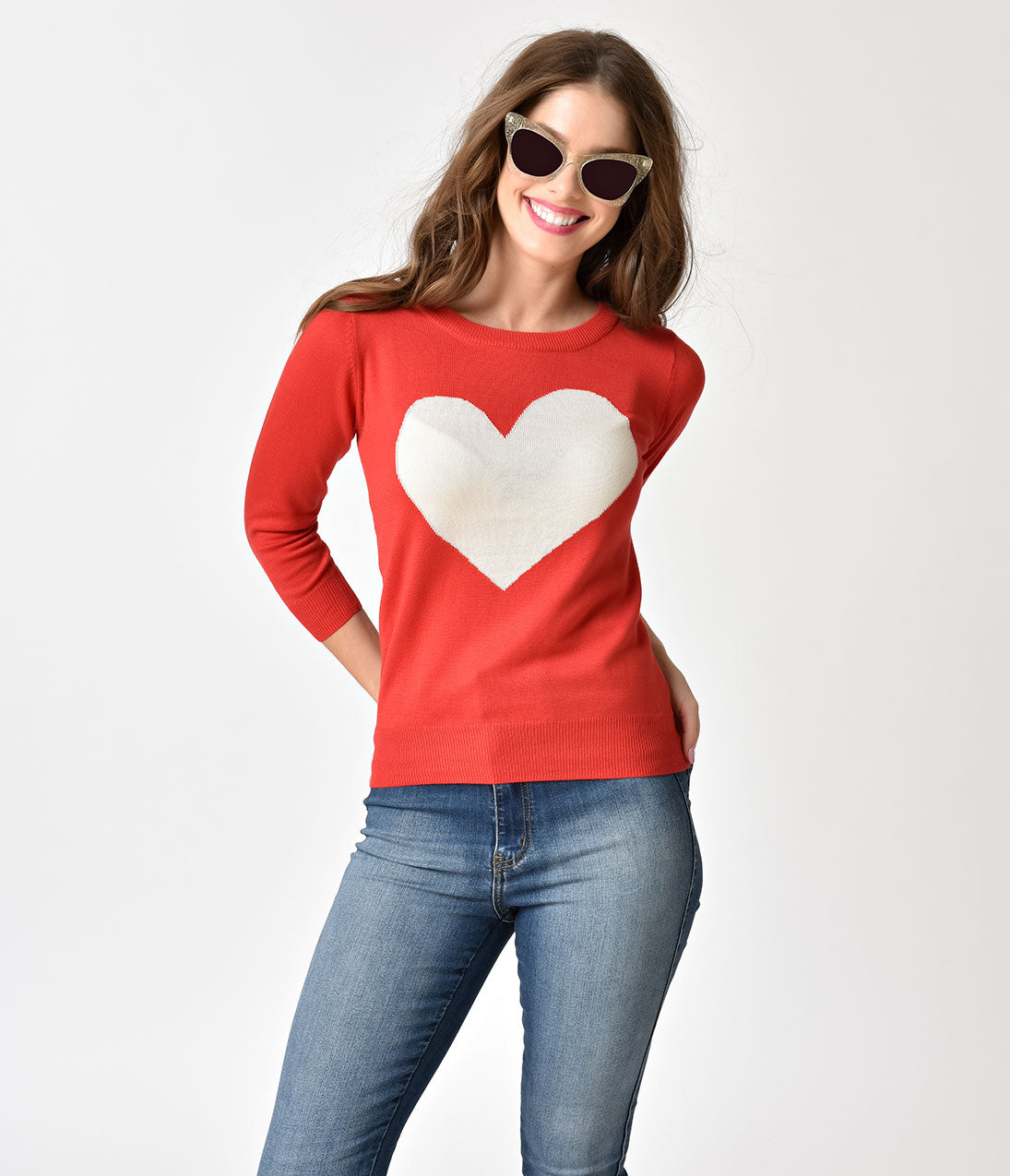Vintage Sweaters: Cable Knit, Fair Isle Cardigans & Sweaters Tomato Red  Oatmeal Heart Long Sleeve Knit Sweater Top $34.00 AT vintagedancer.com