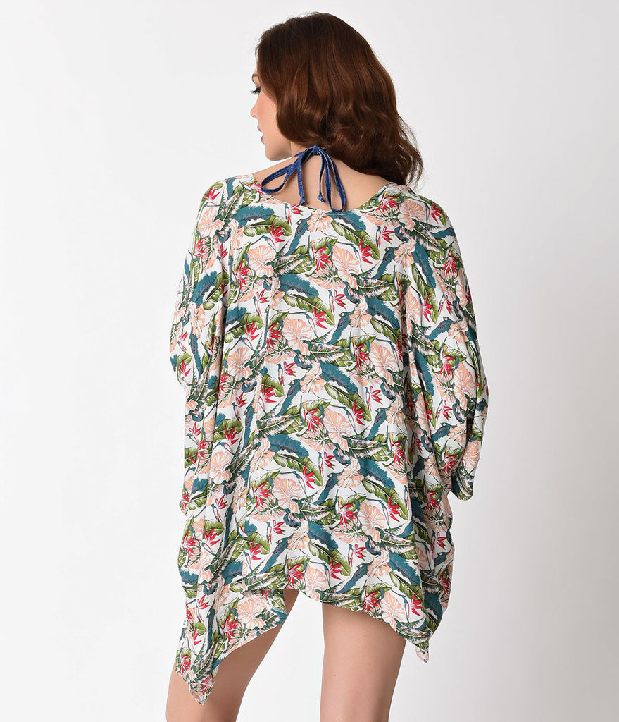 Tropical Print Multi Color Floral Half Sleeve Swim Cover Up