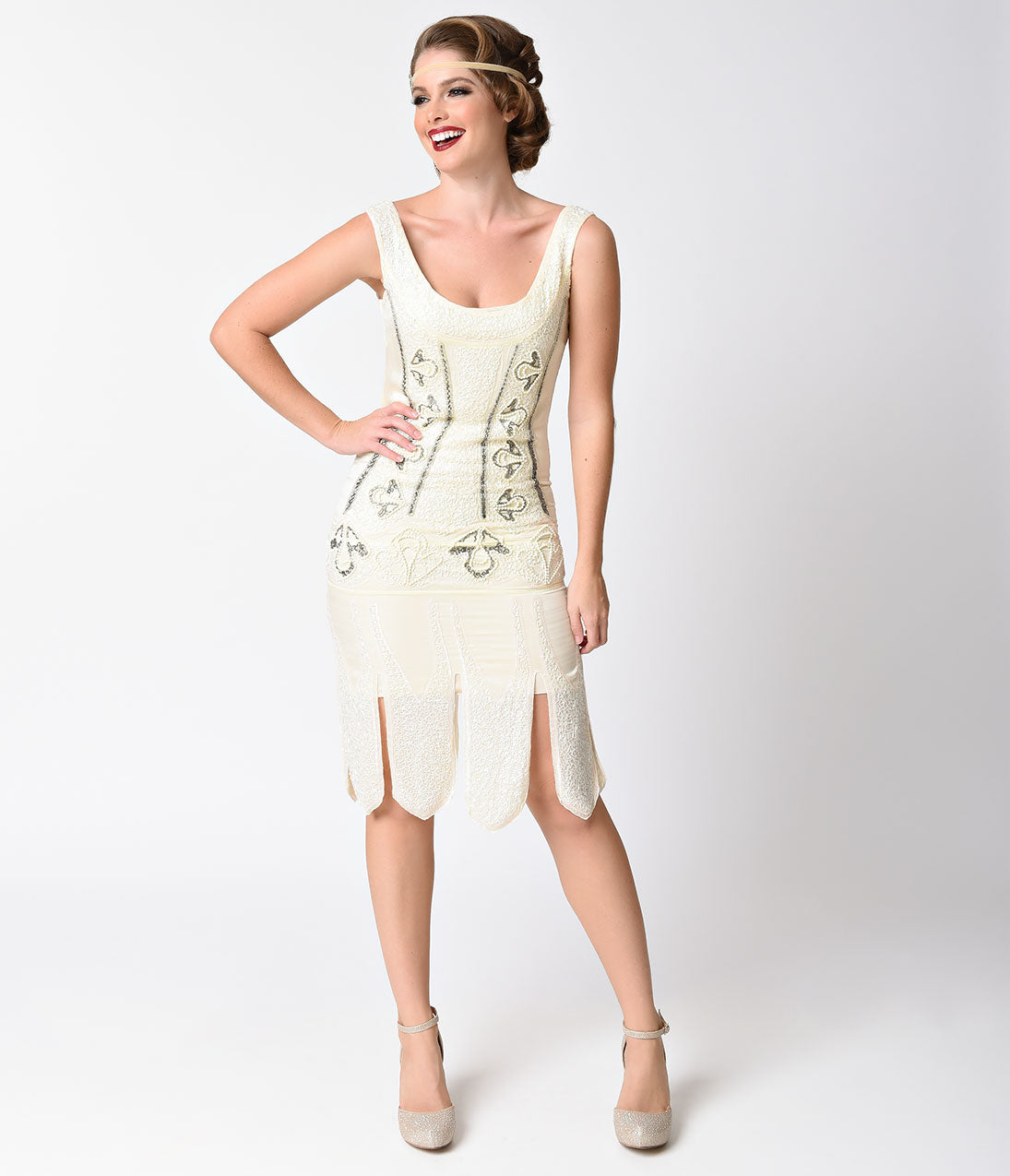 Vintage Inspired Wedding Dress | Vintage Style Wedding Dresses Unique Vintage 1920S Antique Ivory Beaded Sateen Eleanor Flapper Dress $53.00 AT vintagedancer.com