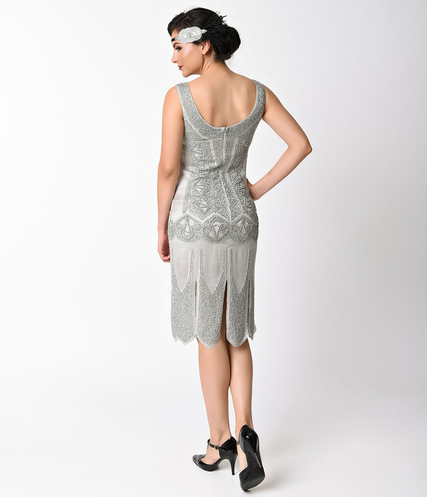 Unique Vintage 1920s Antique Silver Beaded Sateen Eleanor Flapper Dress