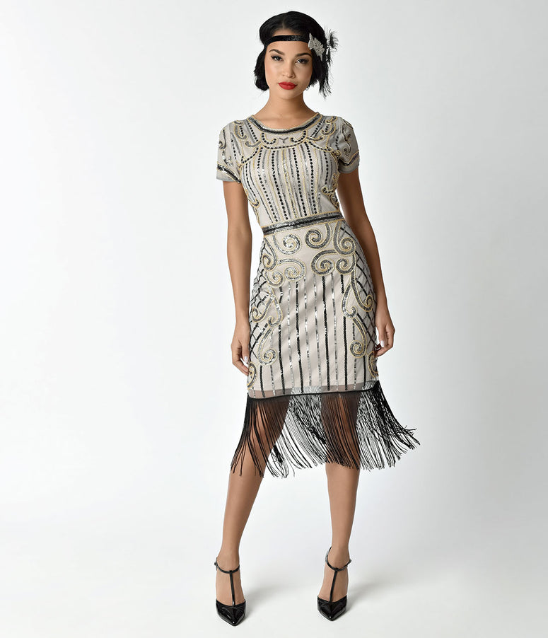 Unique Vintage 1920s Beige & Gold Deco Sabine Short Flapper Dress