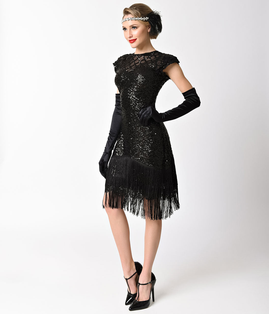 1920s Fashion & Clothing | Roaring 20s Attire Unique Vintage 1920S Black Sequin Fringe Del Mar Flapper Dress $110.00 AT vintagedancer.com