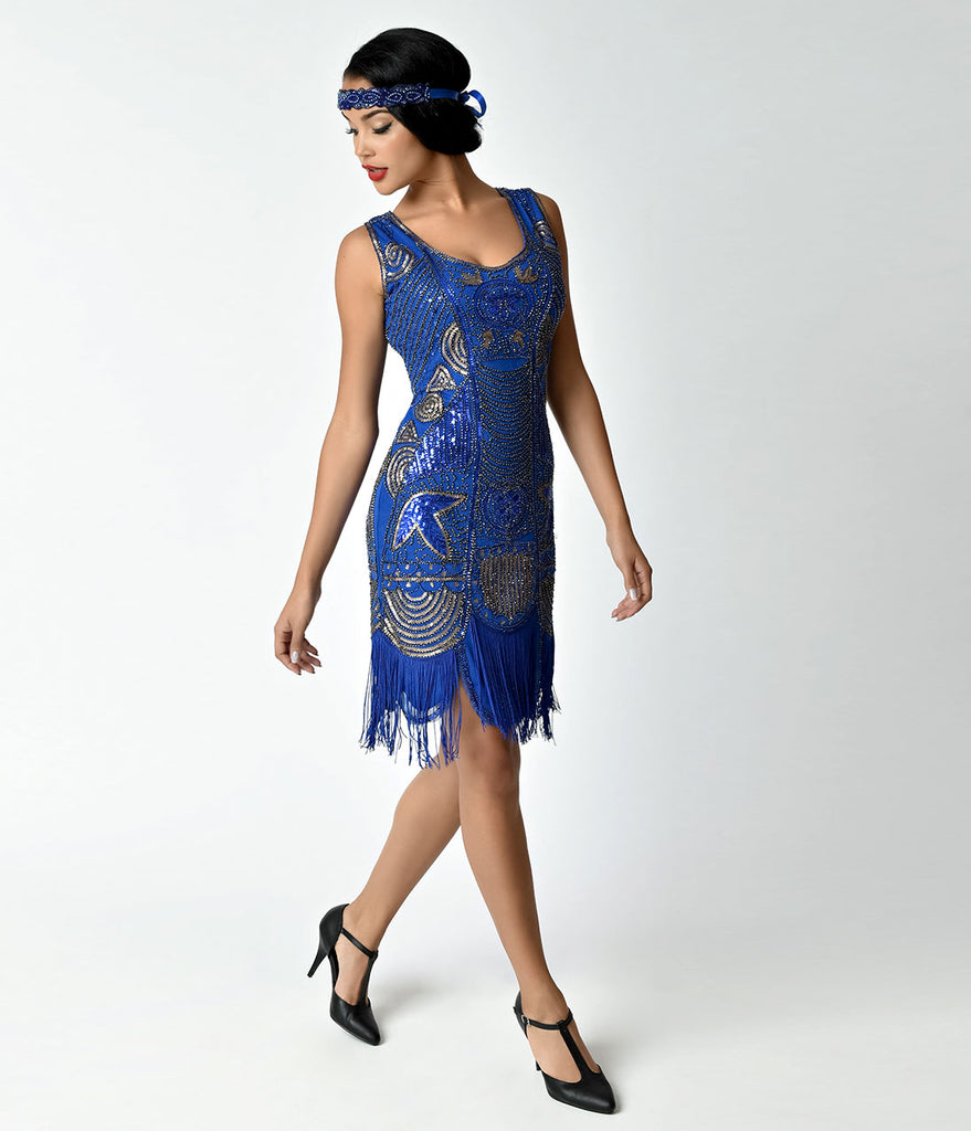 Unique Vintage 1920s Deco Royal Blue Beaded Fringe Camille Flapper Dress