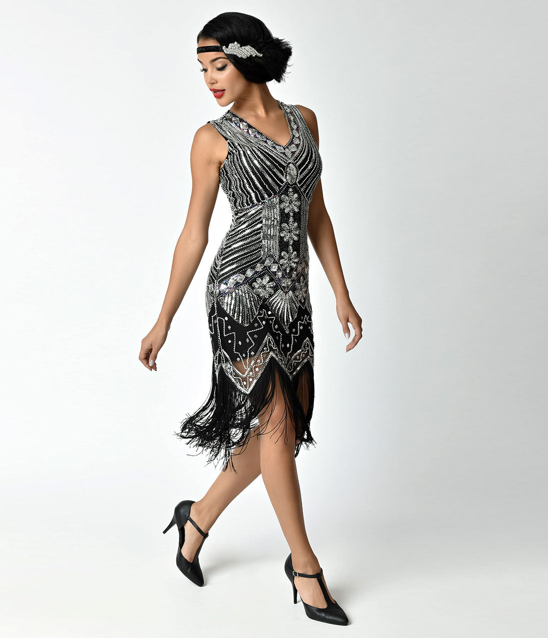 Roaring 20s Costumes- Flapper Costumes, Gangster Costumes Unique Vintage 1920S Deco Silver  Black Veronique Fringe Flapper Dress $98.00 AT vintagedancer.com