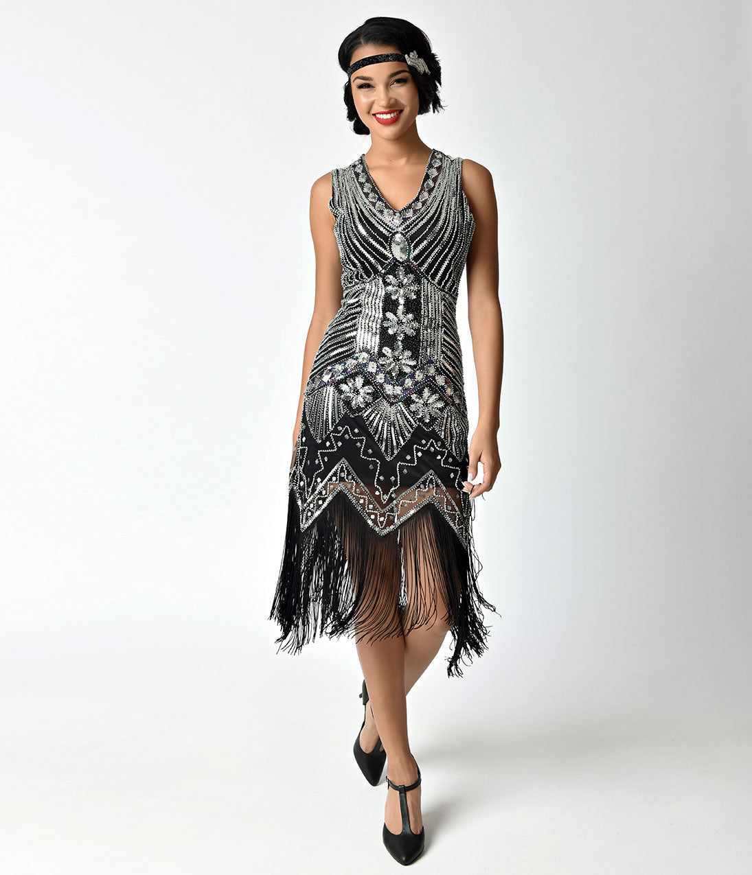 6ea45cdb Unique Vintage 1920s Deco Silver & Black Veronique Fringe Flapper Dress
