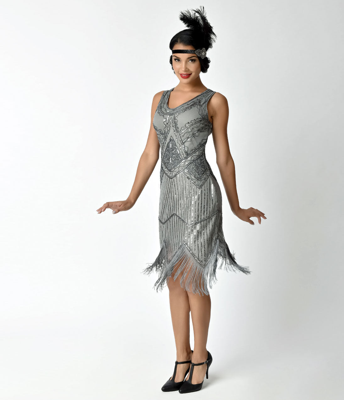1920s Style Dresses, Flapper Dresses 1920 Sequin Juliette Fringe Flapper Dress $110.00 AT vintagedancer.com