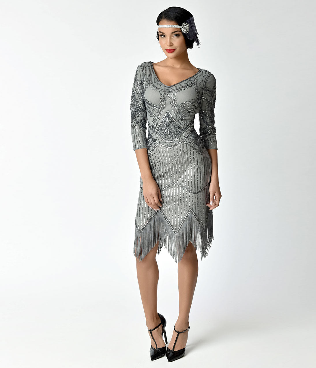 Roaring 20s Costumes- Flapper Costumes, Gangster Costumes 1920S Grey Beaded Sequin Sleeved Noemie Fringe Flapper Dress $98.00 AT vintagedancer.com