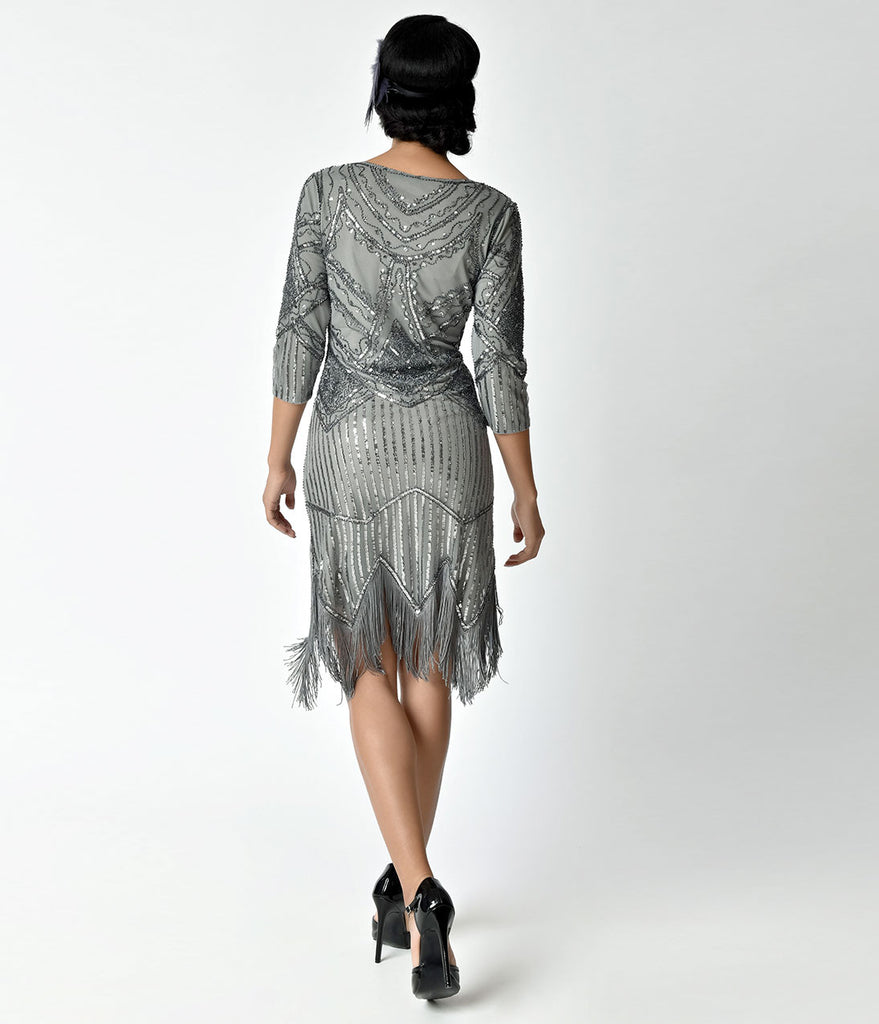 Unique Vintage 1920s Grey Beaded Sequin Sleeved Noemie Fringe Flapper Dress