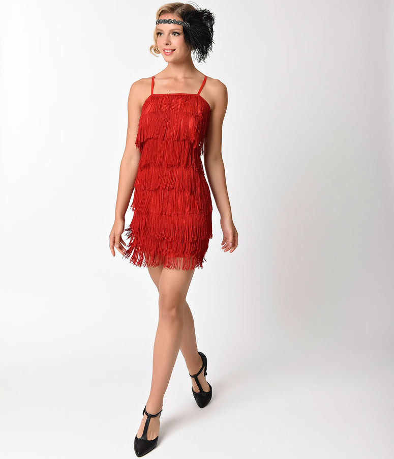 Unique Vintage 1920s Style Red Speakeasy Tiered Fringe Flapper Dress