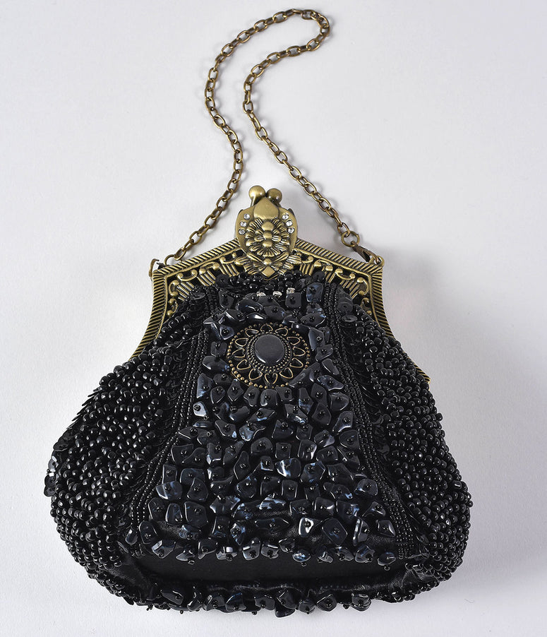 Unique Vintage 1920s Style Black Beaded Top Frame Flapper Purse