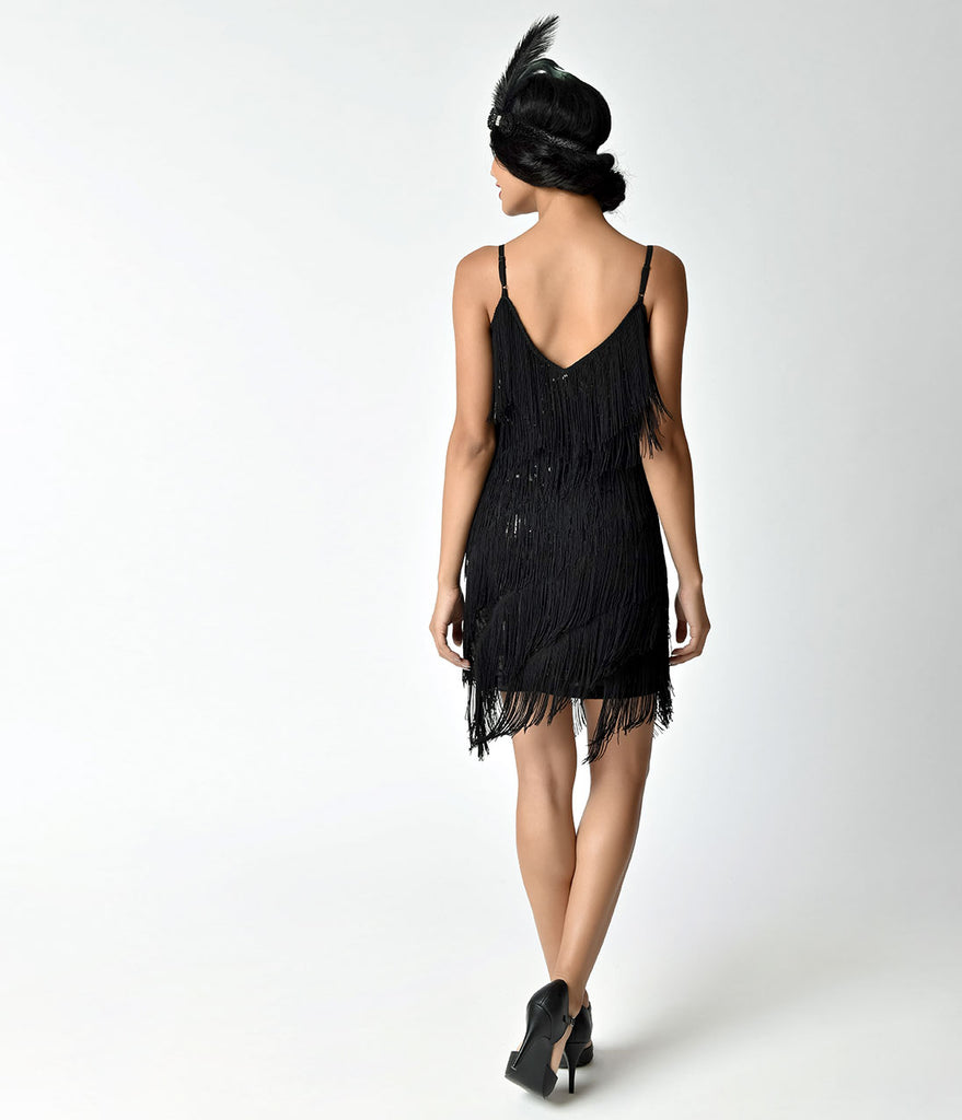Unique Vintage 1920s Style Black Cecile Tiered Fringe Flapper Dress