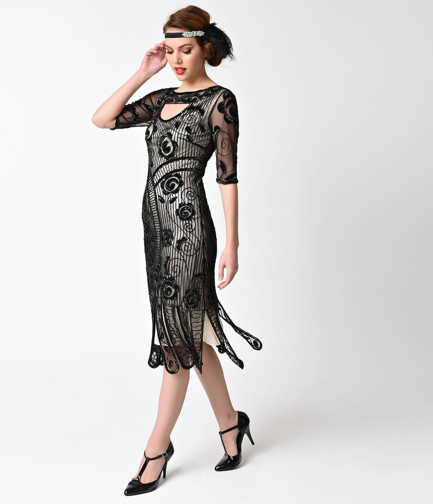 Unique Vintage 1920s Style Black & Nude Beaded Half Sleeved Avalon Flapper Dress