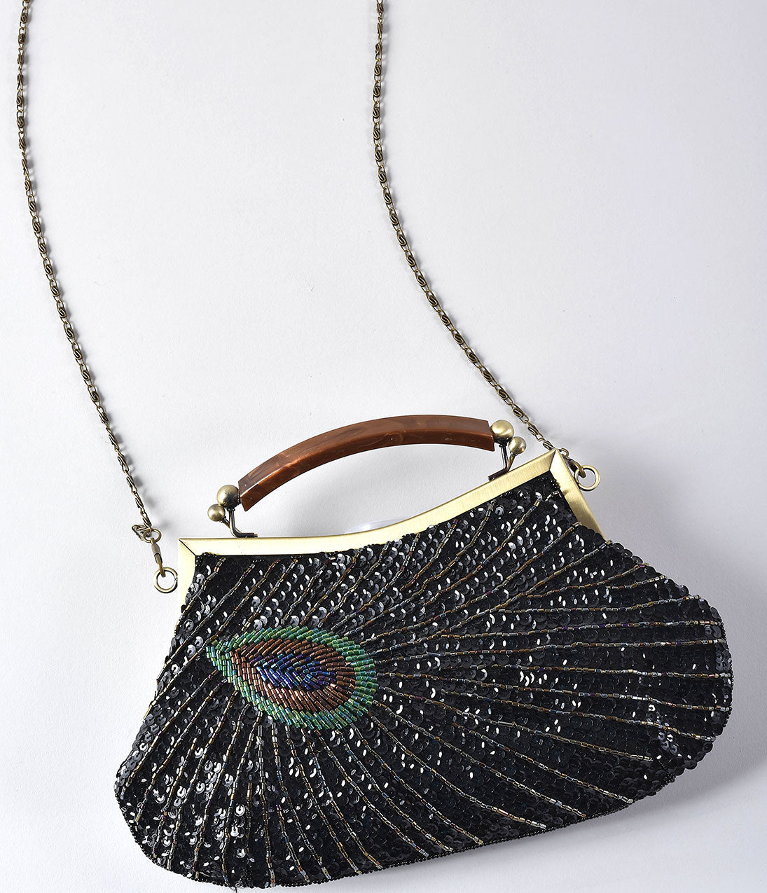 1920s Handbags, Purses, and Shopping Bag Styles Unique Vintage 1920S Style Black Peacock Sequin Flapper Handbag $62.00 AT vintagedancer.com