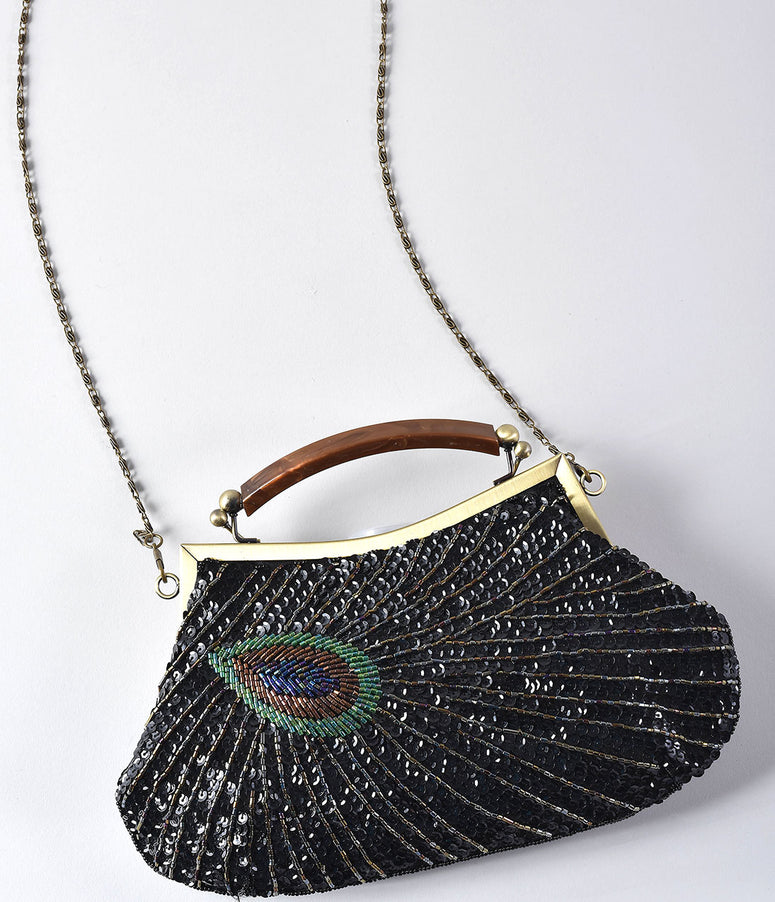 Unique Vintage 1920s Style Black Peacock Sequin Flapper Handbag