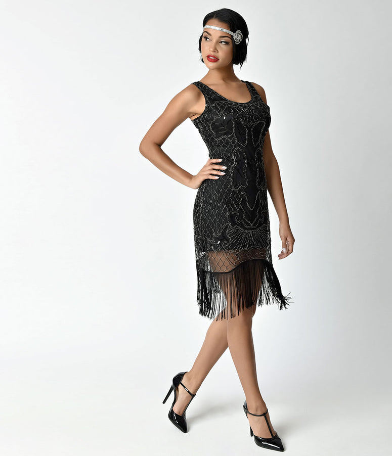 Unique Vintage 1920s Style Black & Silver Beaded Francoise Fringe Flapper Dress