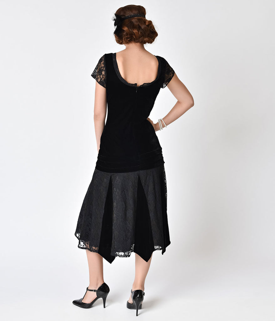 Unique Vintage 1920s Style Black Velvet Short Sleeve Millie Flapper Dress