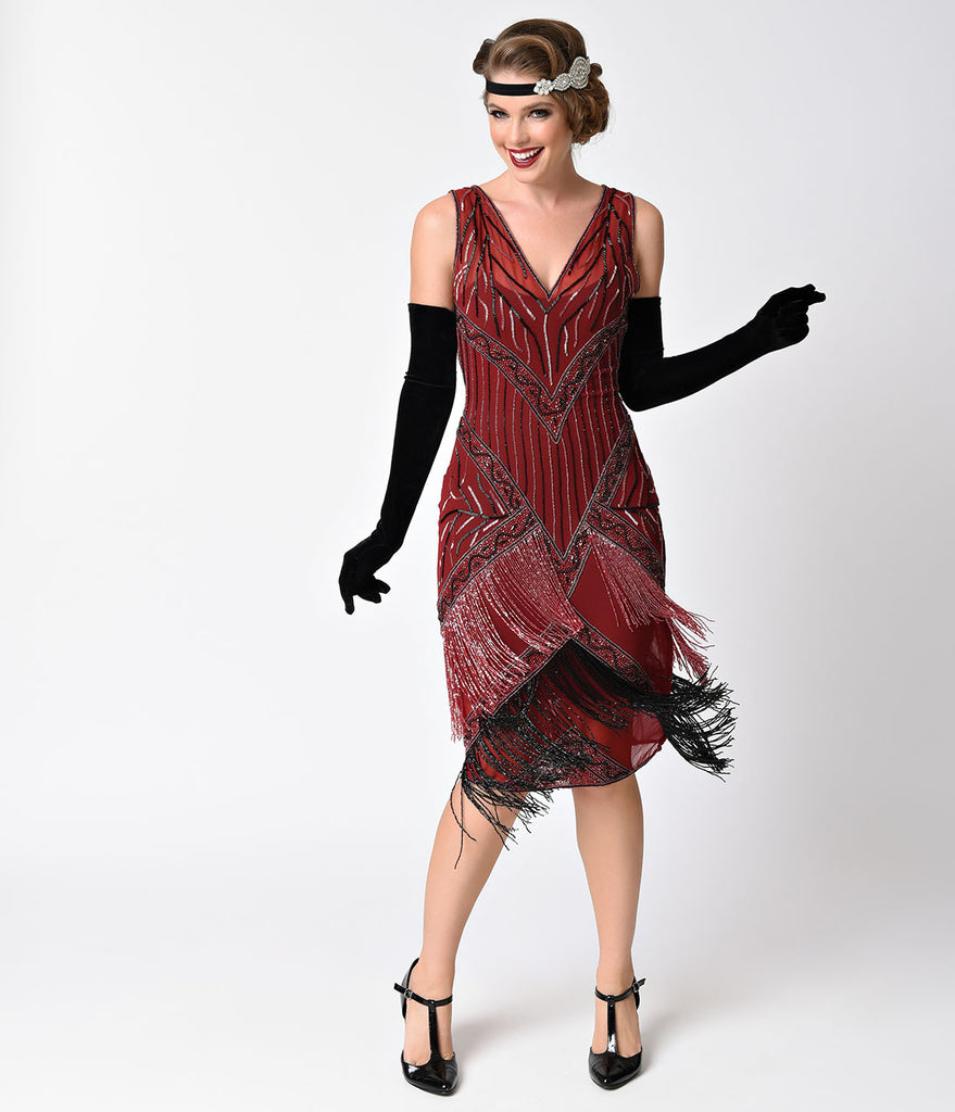 Unique Vintage 1920s Style Burgundy & Black Beaded Remarque Fringe Flapper Dress
