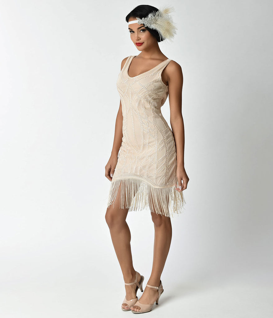 Unique Vintage 1920s Style Cream Beaded Eloise Fringe Flapper Dress