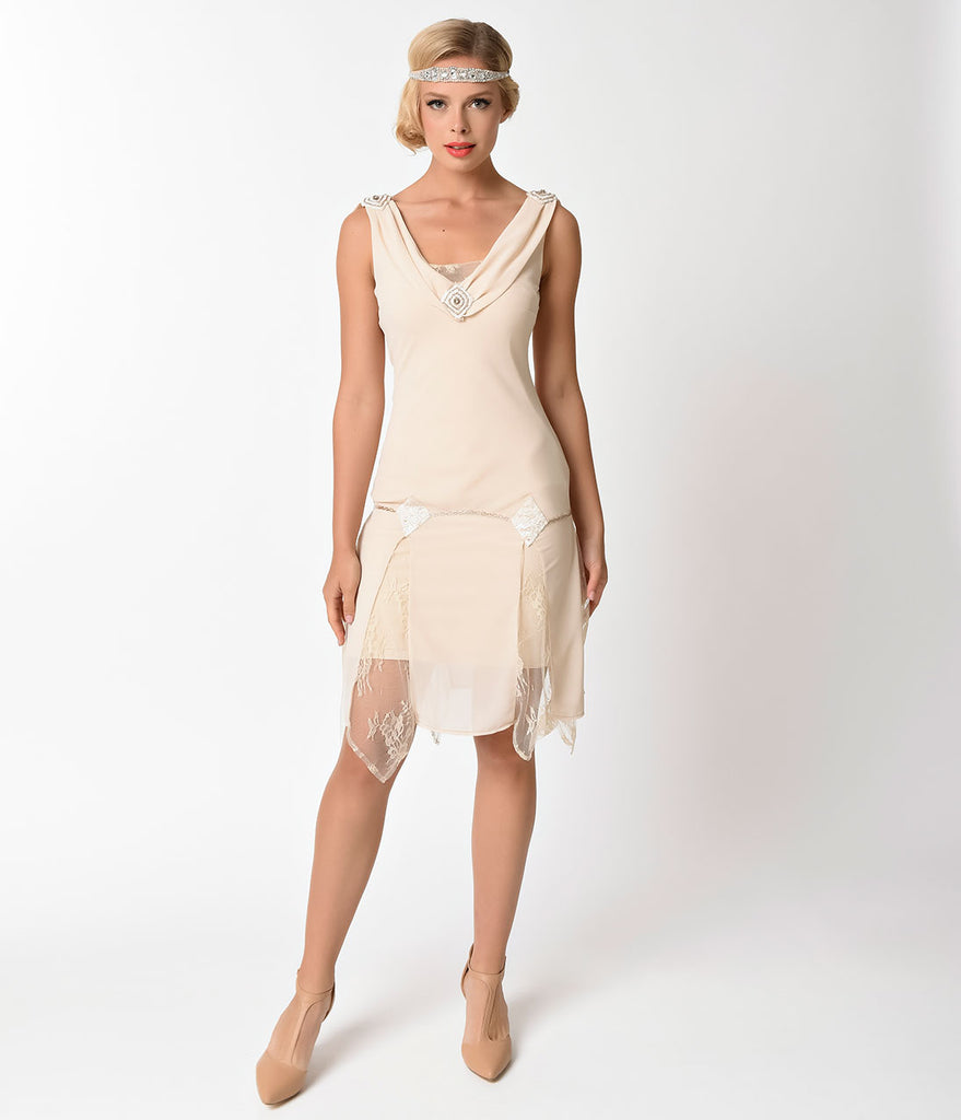 Unique Vintage 1920s Style Cream Hemingway Flapper Dress