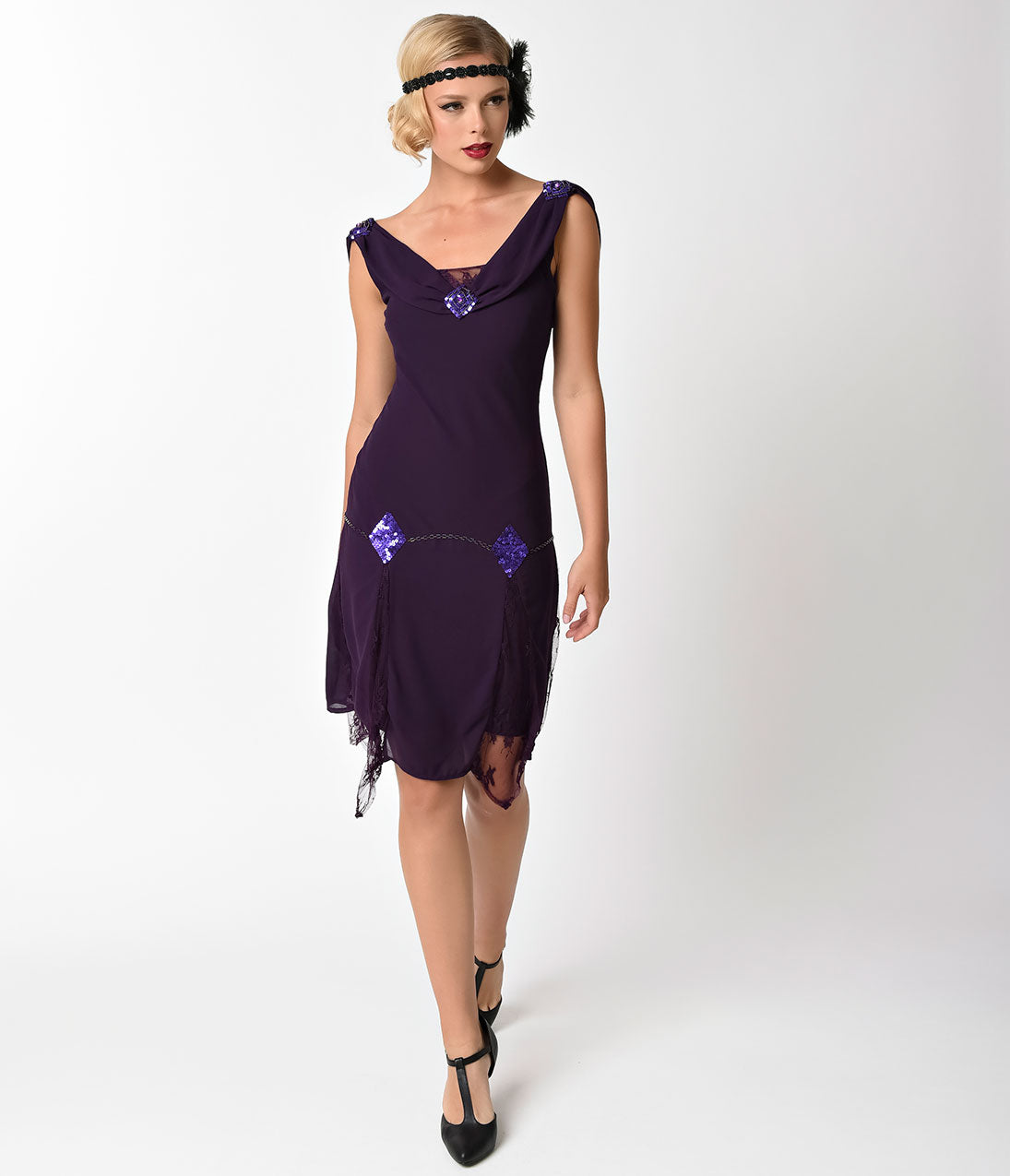1920s Style Dresses, Flapper Dresses 1920s Style Dark Purple Hemingway Flapper Dress $98.00 AT vintagedancer.com