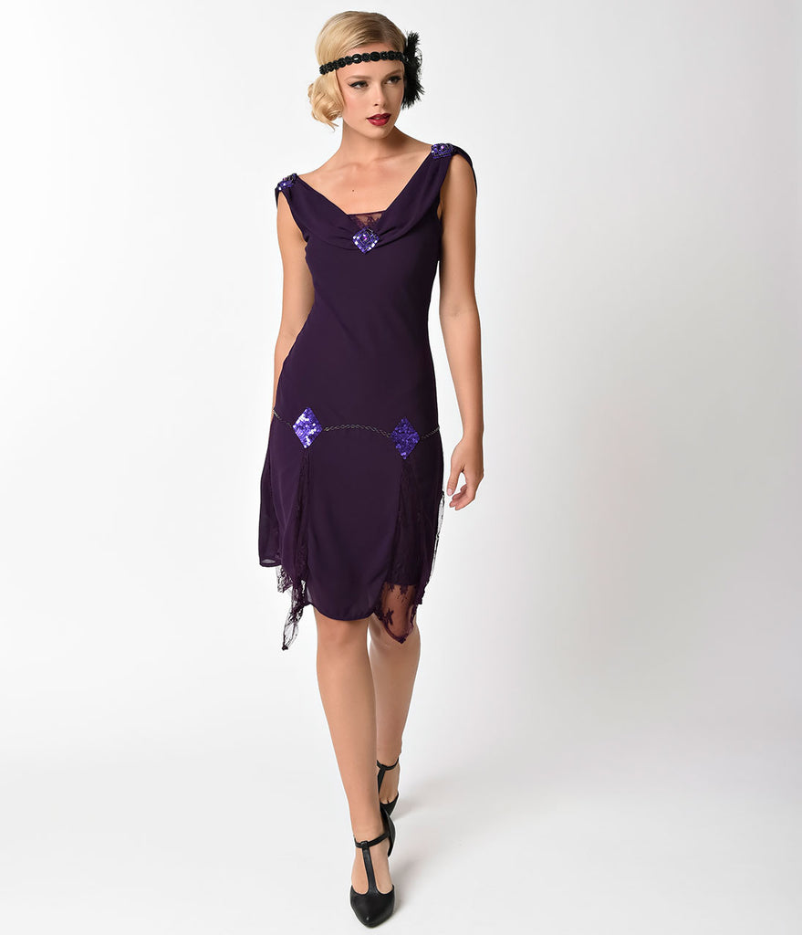 Unique Vintage 1920s Style Dark Purple Hemingway Flapper Dress