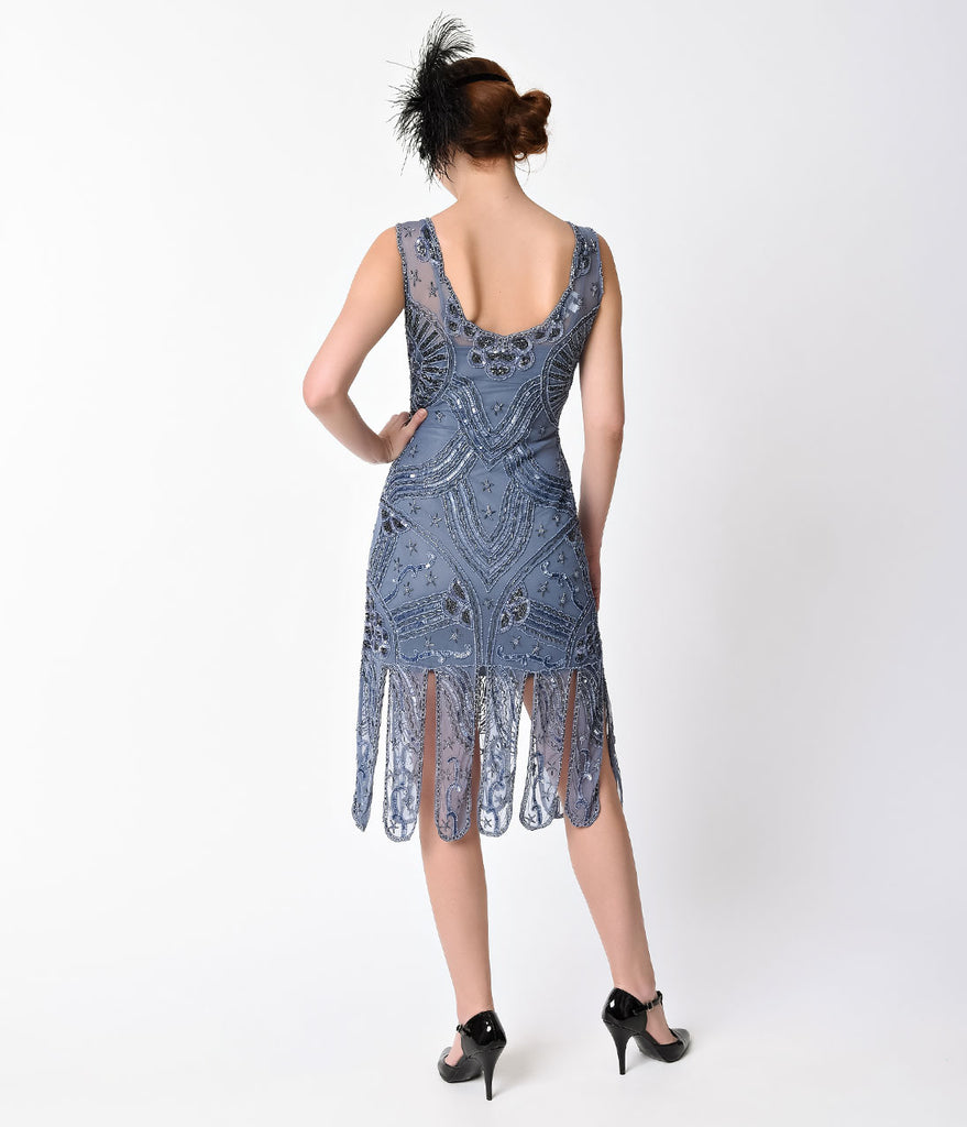 Unique Vintage 1920s Style Dusty Blue Beaded Sinclair Flapper Dress