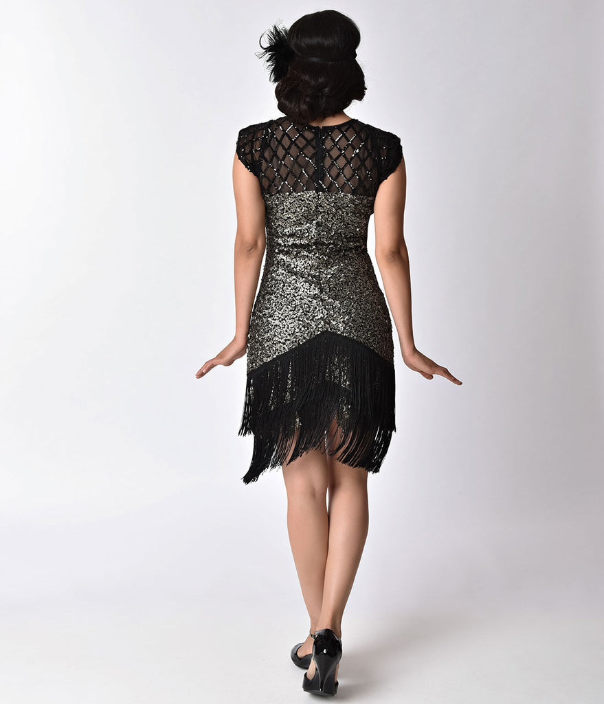 Unique Vintage 1920s Gunmetal Sequin Fringe Del Mar Flapper Dress
