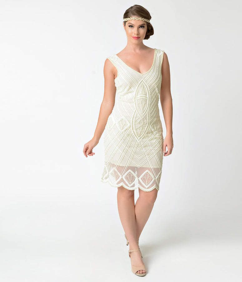 Unique Vintage 1920s Style Ivory Beaded Dorothea Flapper Dress