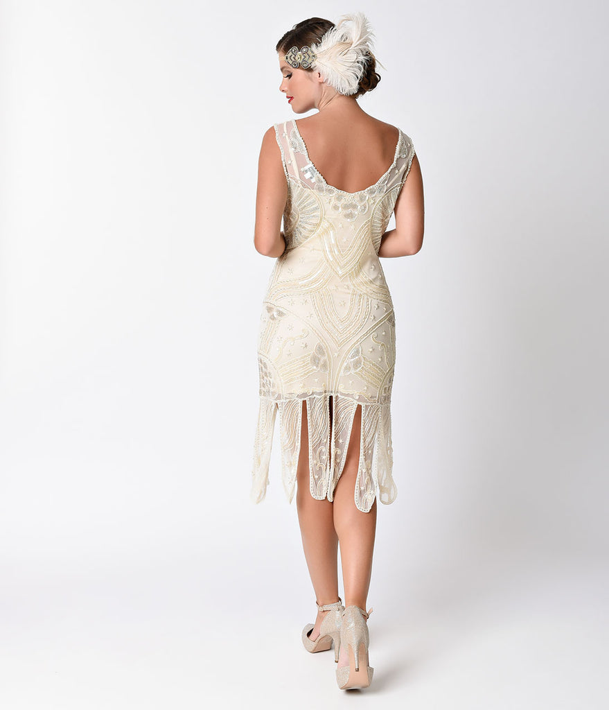 Unique Vintage 1920s Style Ivory Beaded Sinclair Flapper Dress