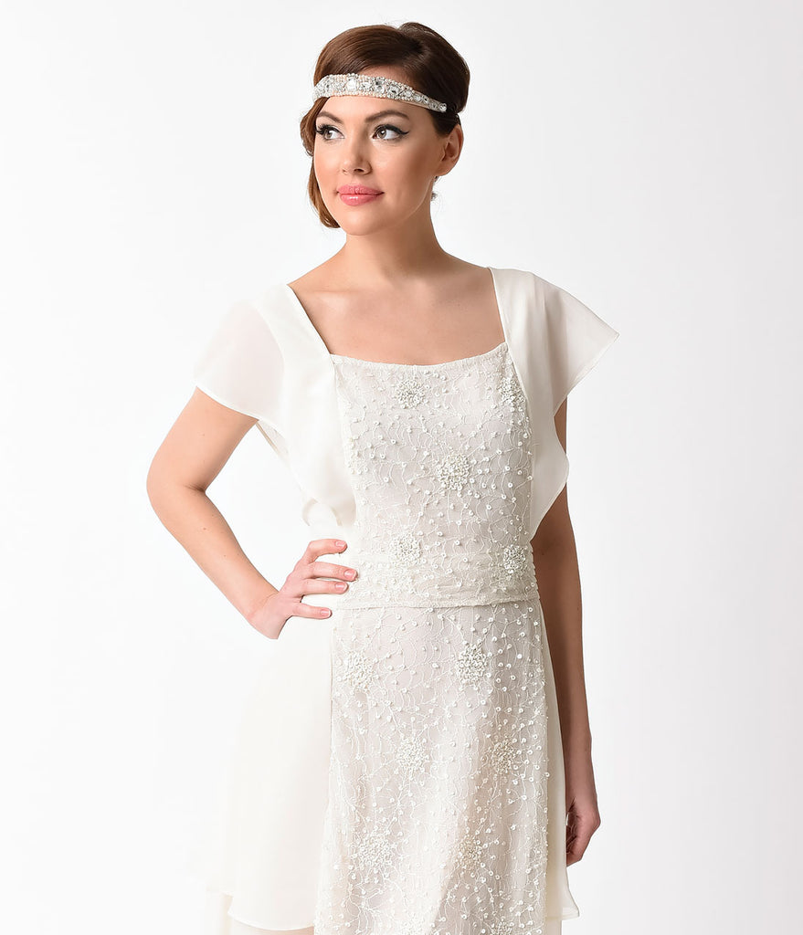 Unique Vintage 1920s Style Ivory Chiffon Geraldine Beaded Flapper Dress