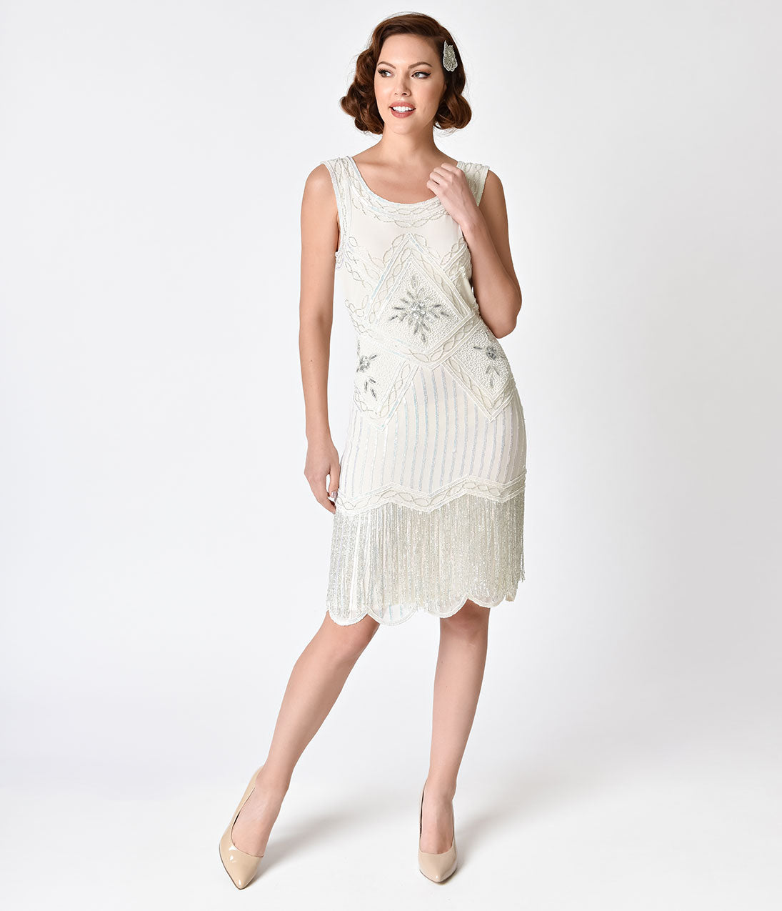 Vintage Inspired Wedding Dress | Vintage Style Wedding Dresses 1920s Beaded Ines Cocktail Dress $96.00 AT vintagedancer.com