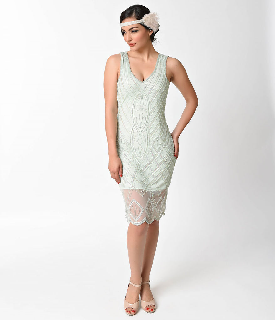 Unique Vintage 1920s Style Mint Beaded Dorothea Flapper Dress