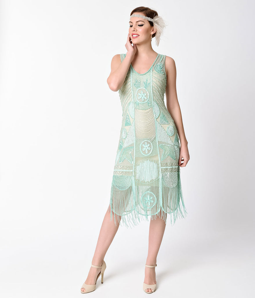 Unique Vintage 1920s Style Mint Beaded Fringe Bosley Flapper Dress