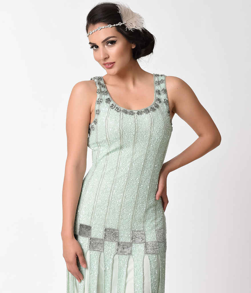 Unique Vintage 1920s Style Mint & Silver Beaded Hart Flapper Dress
