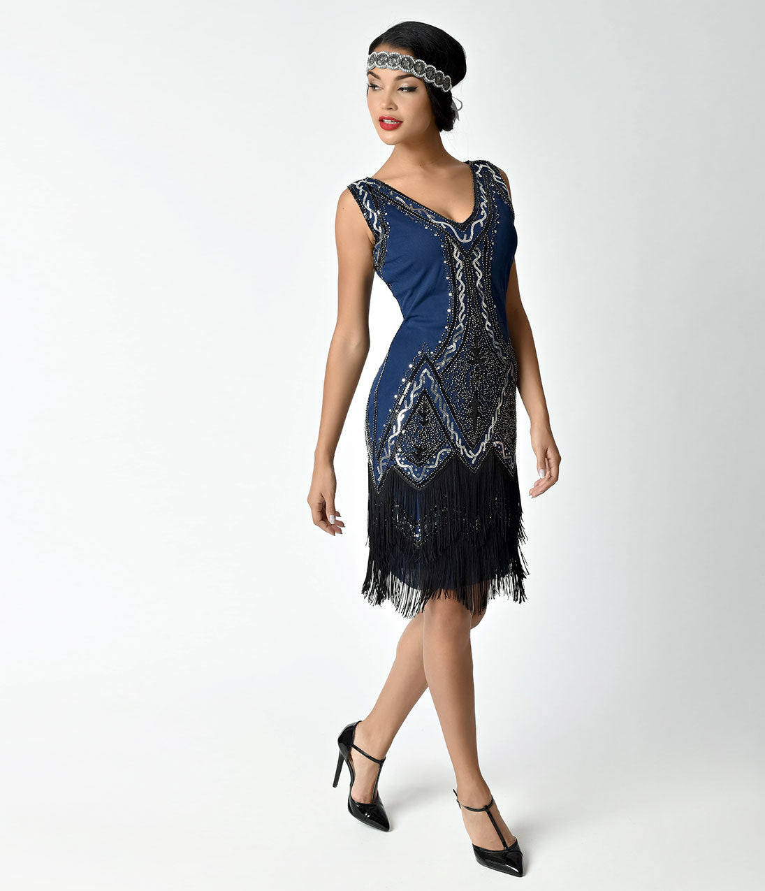 Roaring 20s Costumes- Flapper Costumes, Gangster Costumes Unique Vintage 1920S Style Navy Blue Beaded Sylvie Flapper Dress $74.00 AT vintagedancer.com