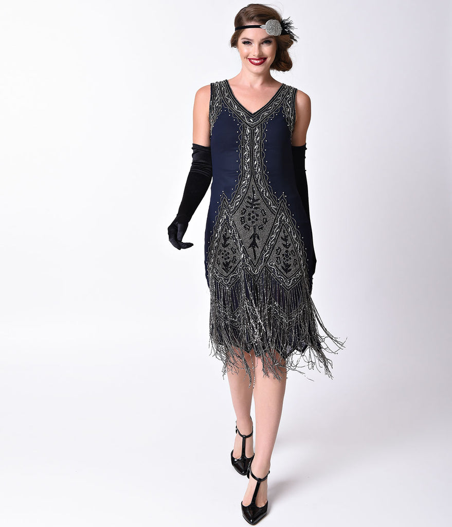... Unique Vintage 1920s Style Navy Blue Embroidered Somerset Flapper Dress  ...