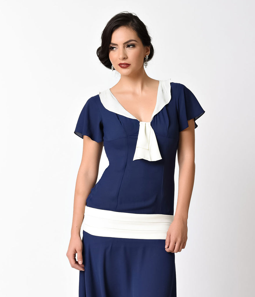 Unique Vintage 1920s Style Navy Blue & Ivory Wilshire Chiffon Flapper Day Dress
