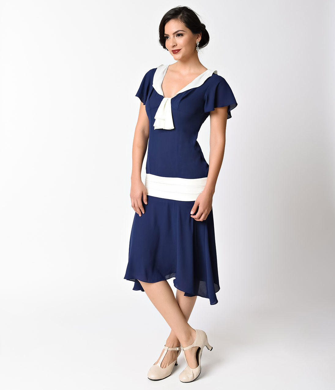 1920s Day Dresses, Tea Dresses, Mature Dresses with Sleeves Unique Vintage 1920S Style Navy Blue  Ivory Wilshire Chiffon Flapper Day Dress $78.00 AT vintagedancer.com
