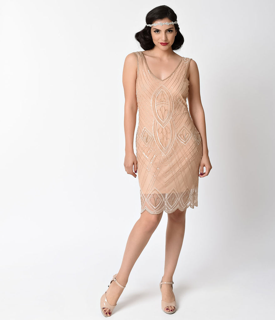 Unique Vintage 1920s Style Peach Beaded Dorothea Flapper Dress