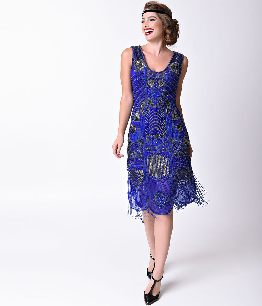 Unique Vintage 1920s Style Royal Blue Beaded Fringe Bosley Flapper Dress