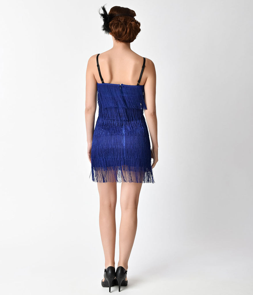 Unique Vintage 1920s Style Royal Blue Speakeasy Tiered Fringe Flapper Dress