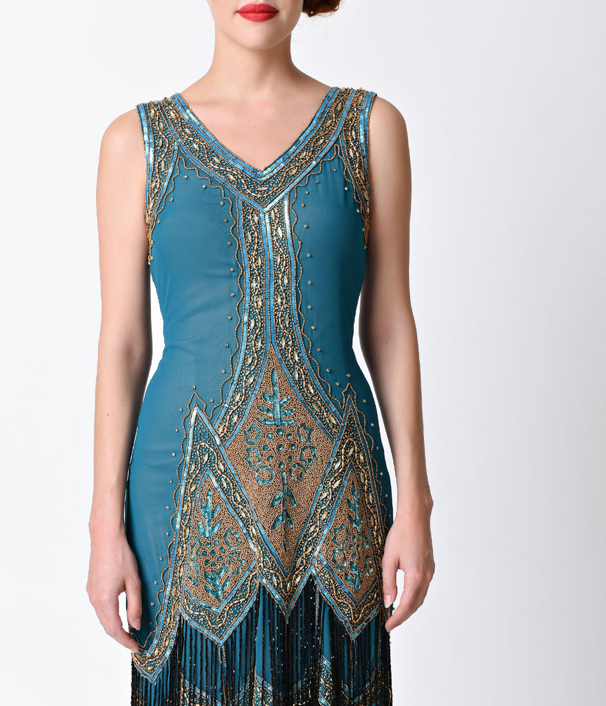Unique Vintage 1920s Style Teal & Gold Embroidered Somerset Flapper Dr