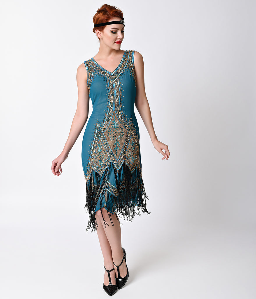 ... Unique Vintage 1920s Style Teal & Gold Embroidered Somerset Flapper  Dress ...