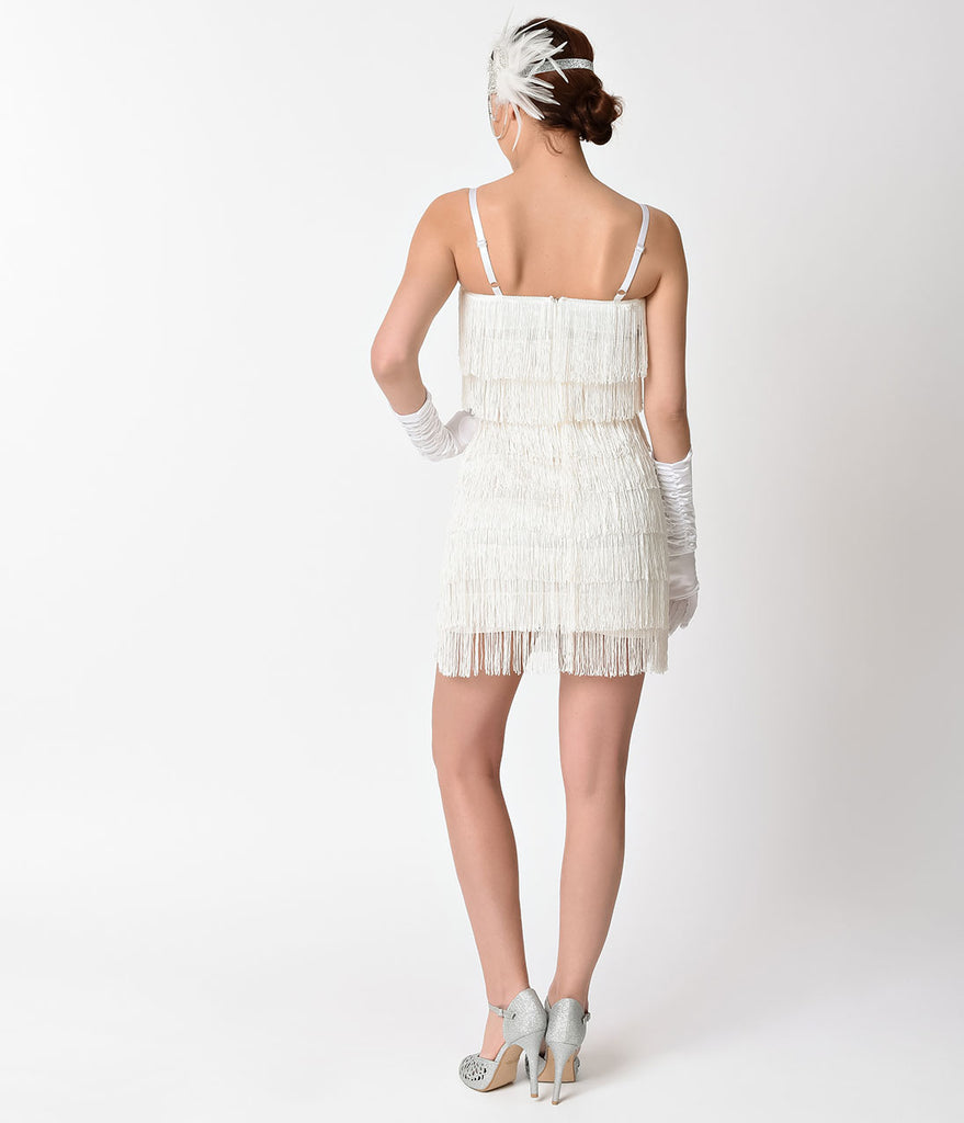 Unique Vintage 1920s Style White Speakeasy Tiered Fringe Flapper Dress