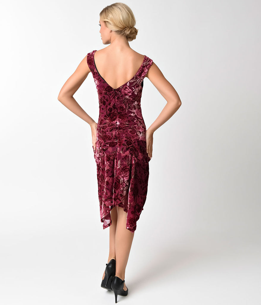 Unique Vintage 1930s Style Merlot Burnout Velvet Velma Flapper Dress